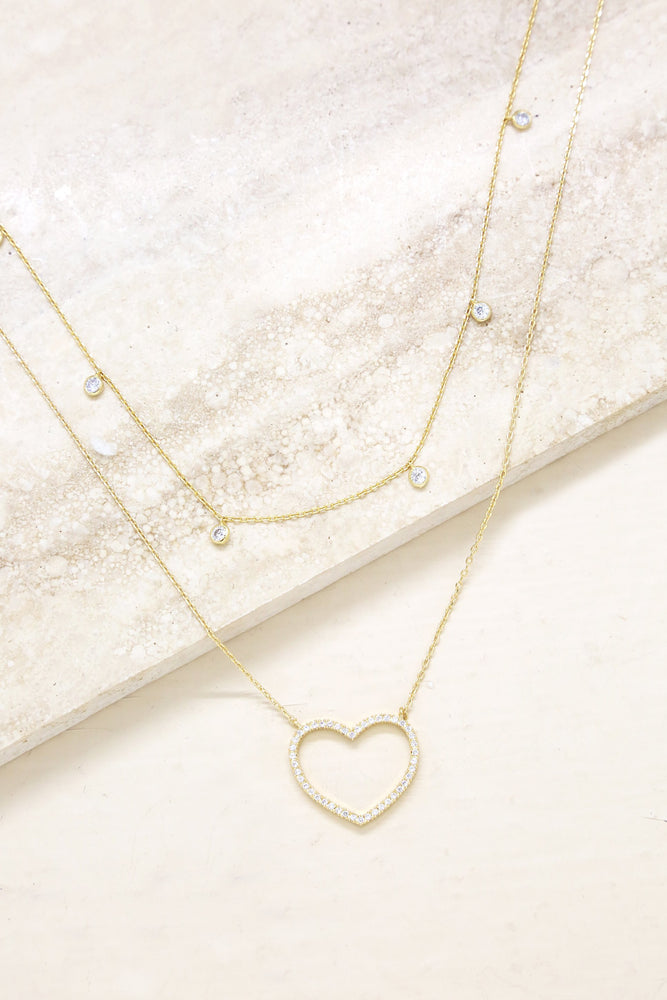 Crystal Heart and Drop Layered 18k Gold Plated Necklace Set of 2