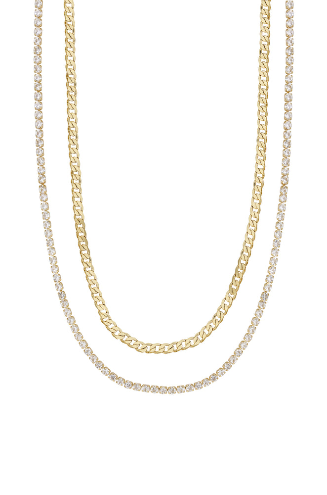 Simple Crystal and 18k Gold Plated Chain Necklace Set on white background