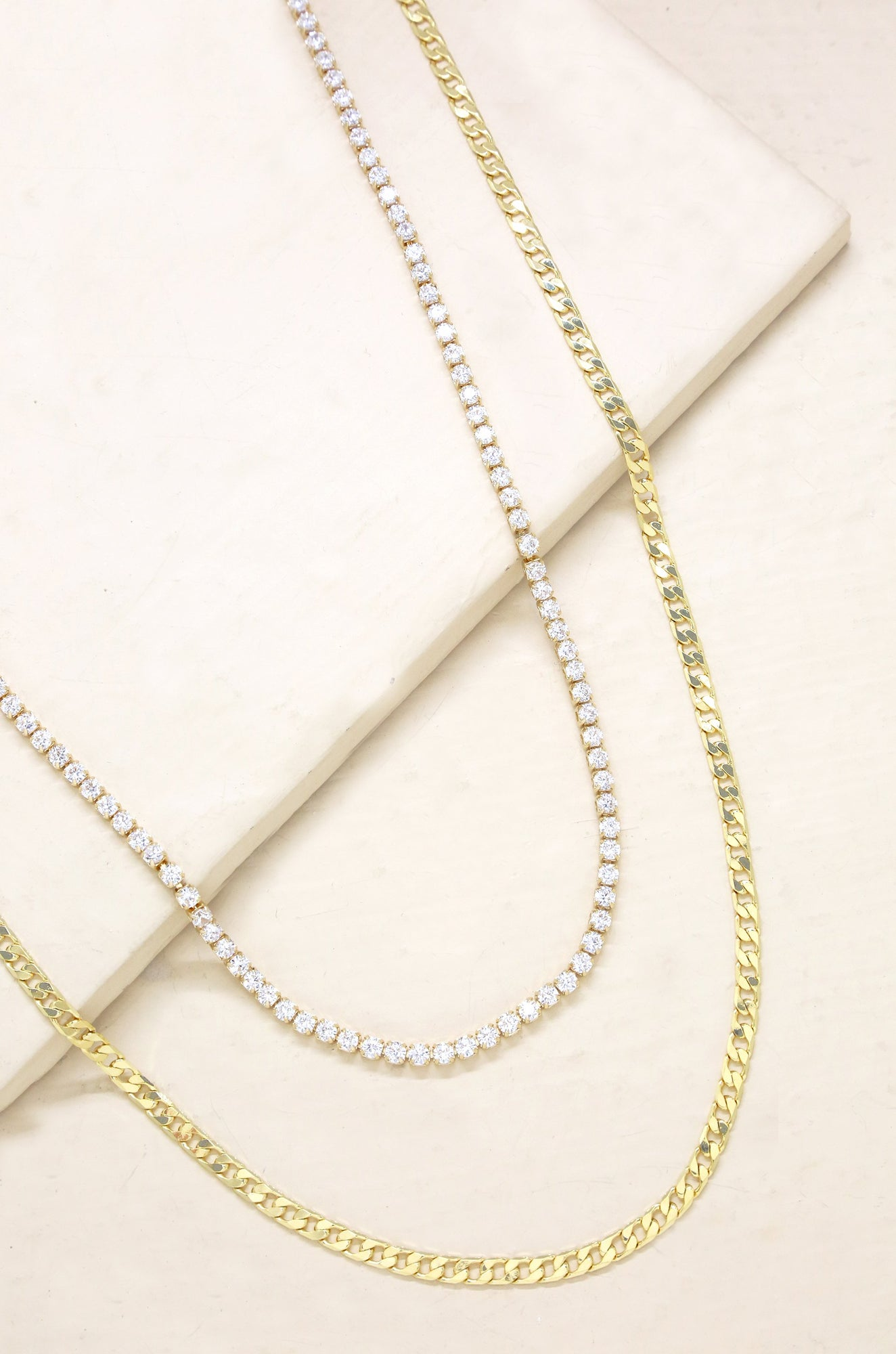 Simple Crystal And 18k Gold Plated Chain Necklace Set Ettika
