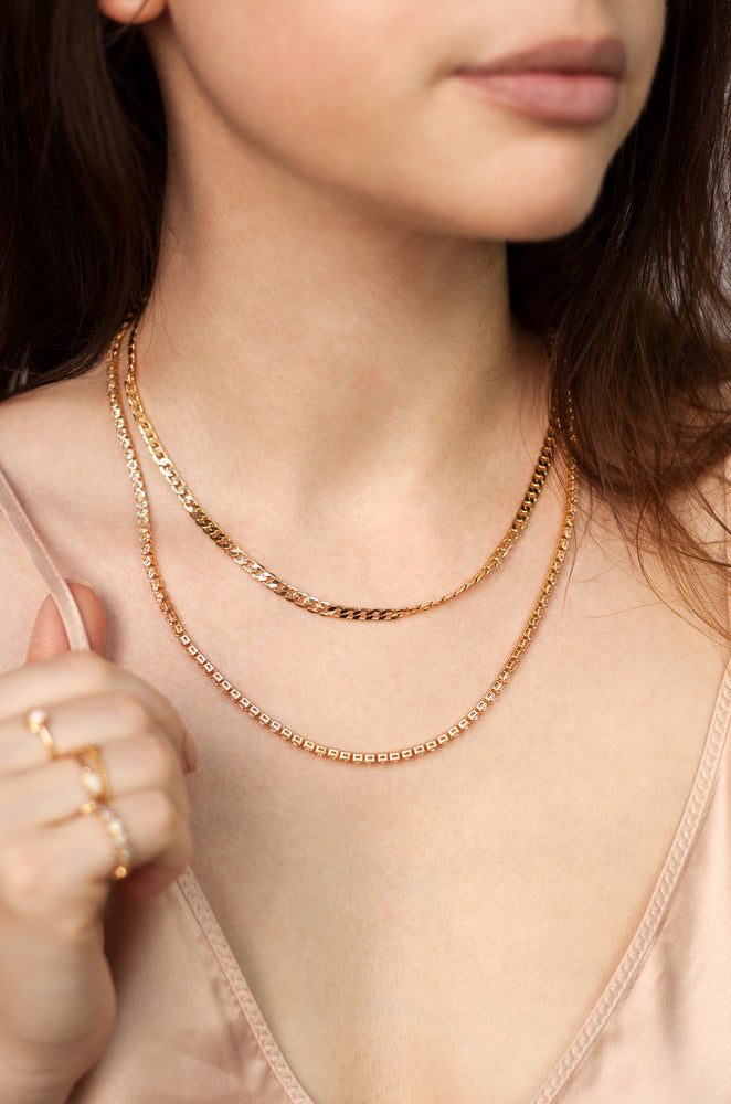 Simple Crystal and 18k Gold Plated Chain Necklace Set