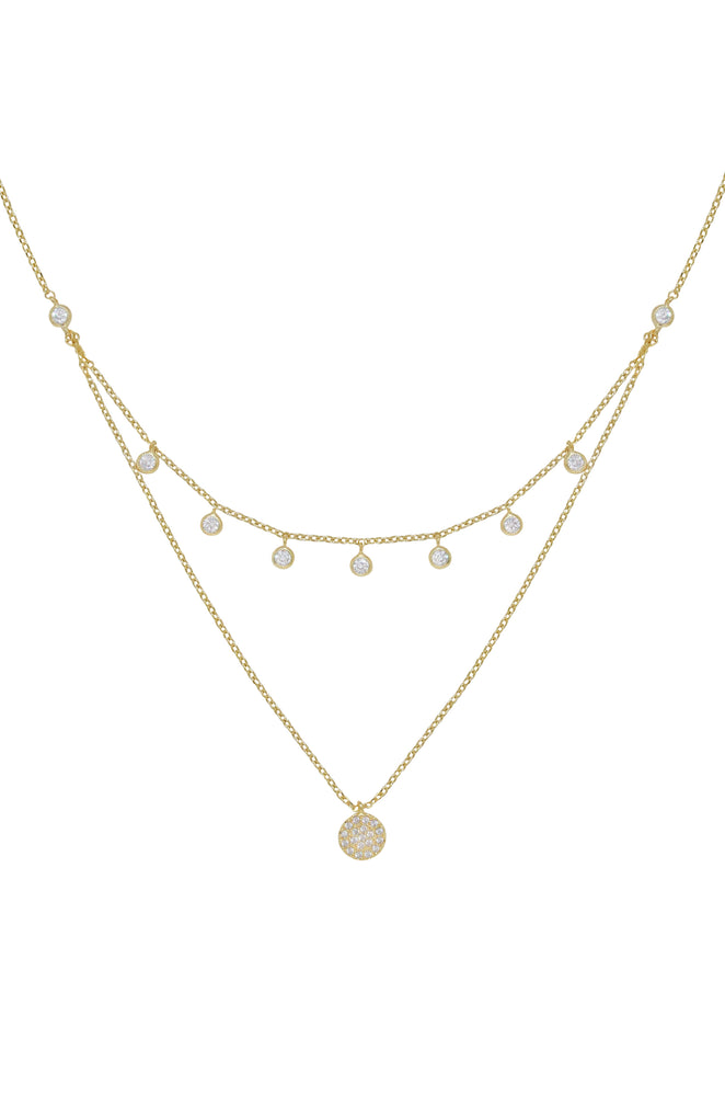 Double Layered Gold Chain & Crystal Disc Necklace