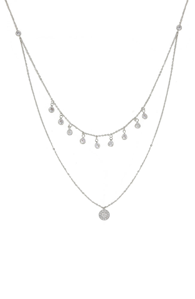 Double Layered Chain & Crystal Disc Necklace