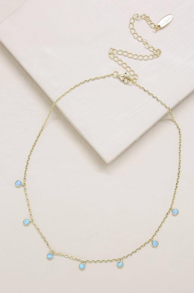 Fine Tune Blue Opal 18k Gold Plated Necklace