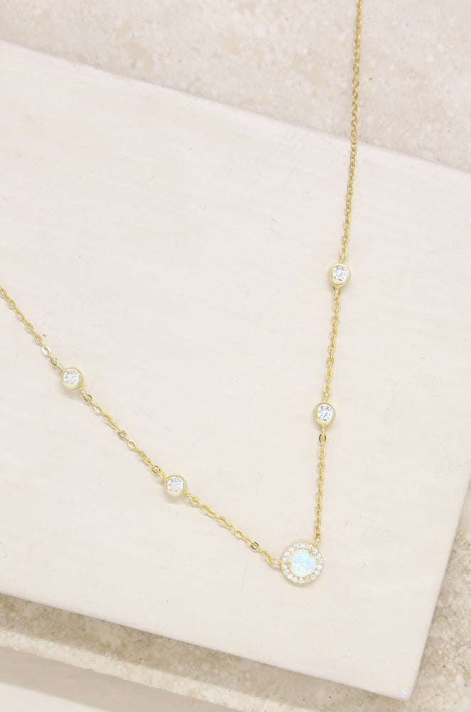 Olivia Opal and Crystal Necklace in Gold