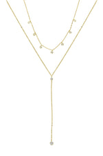 Simplistic Crystal Layered Lariat Necklace Set
