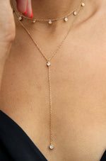 Simplistic Crystal Layered 18k Gold Plated Lariat Necklace Set