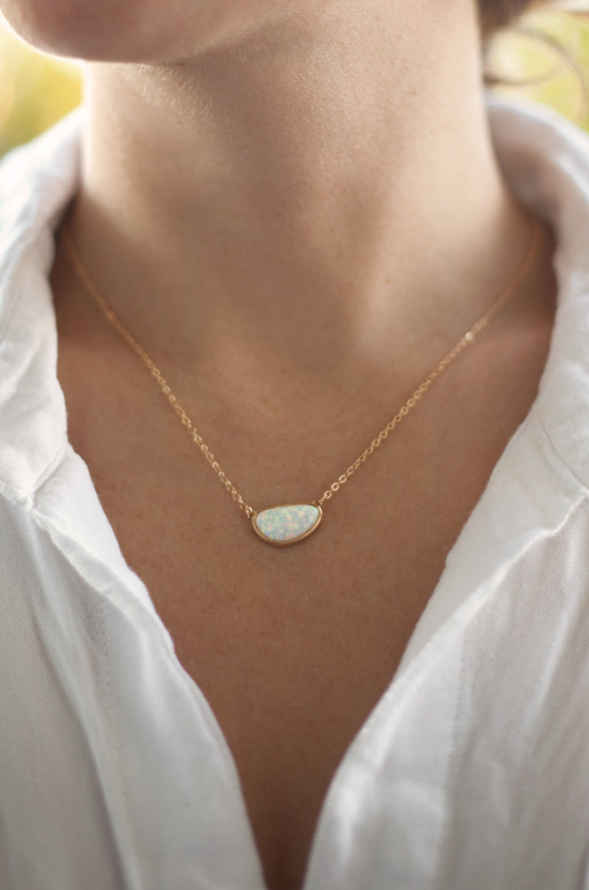 Elena Modern Opal Pendant 18k Gold Plated Necklace