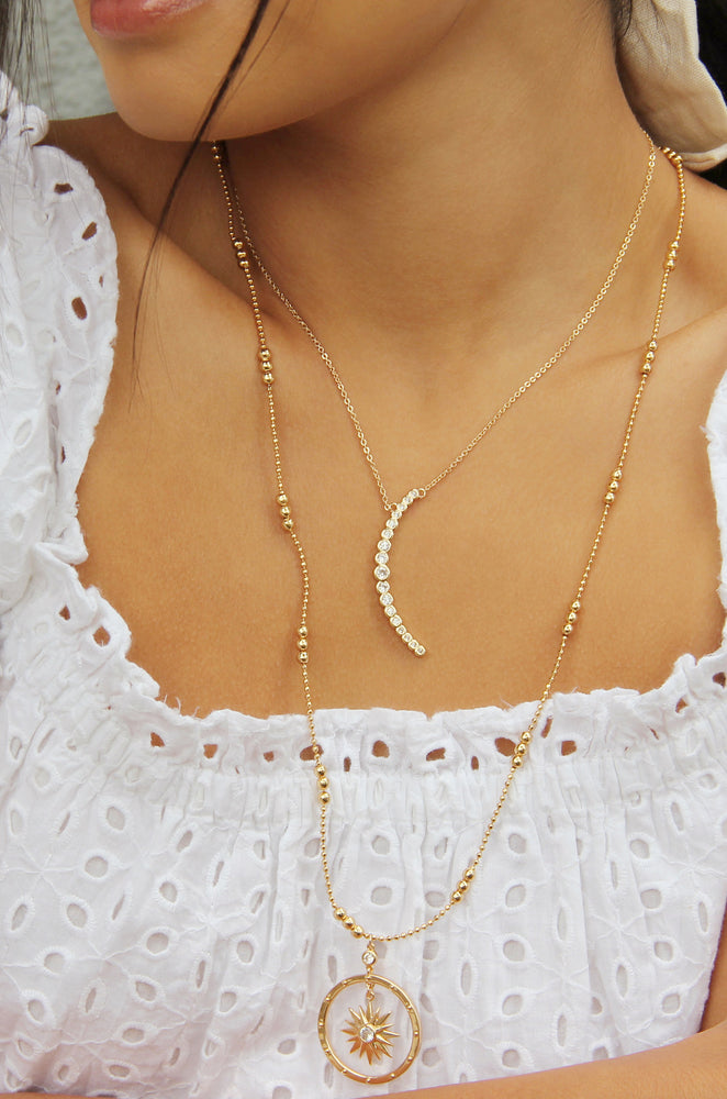 Waning Crystal Crescent Moon 18k Gold Plated Necklace