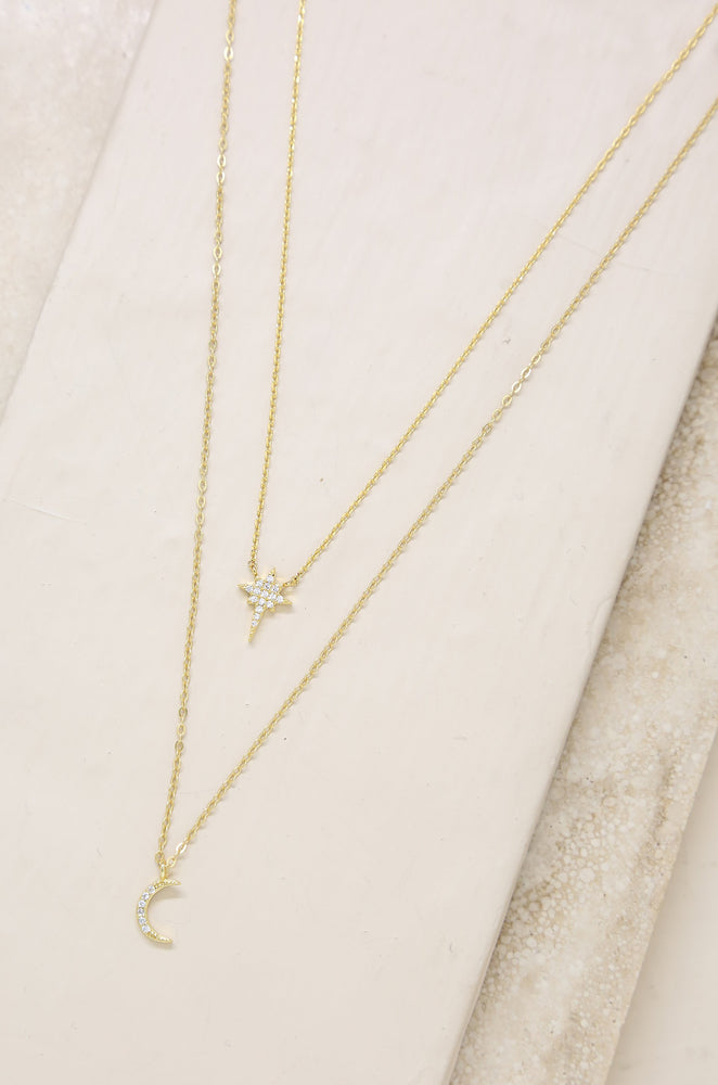 Celestial Crystal 18k Gold Plated Necklace Set