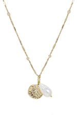 Trusty Trinkets Pearl and Coin 18k Gold Plated Necklace on white background