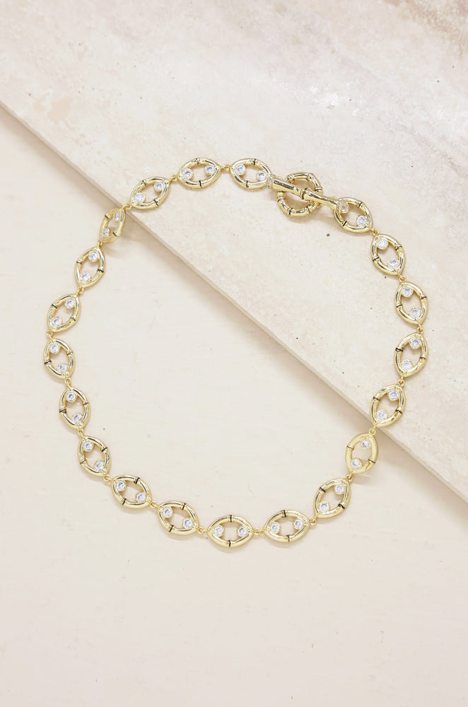 Crystal and 18k Gold Plated Bamboo Eyelet Collar Necklace