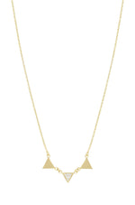 Three Point 18k Gold Plated Crystal Necklace on white background