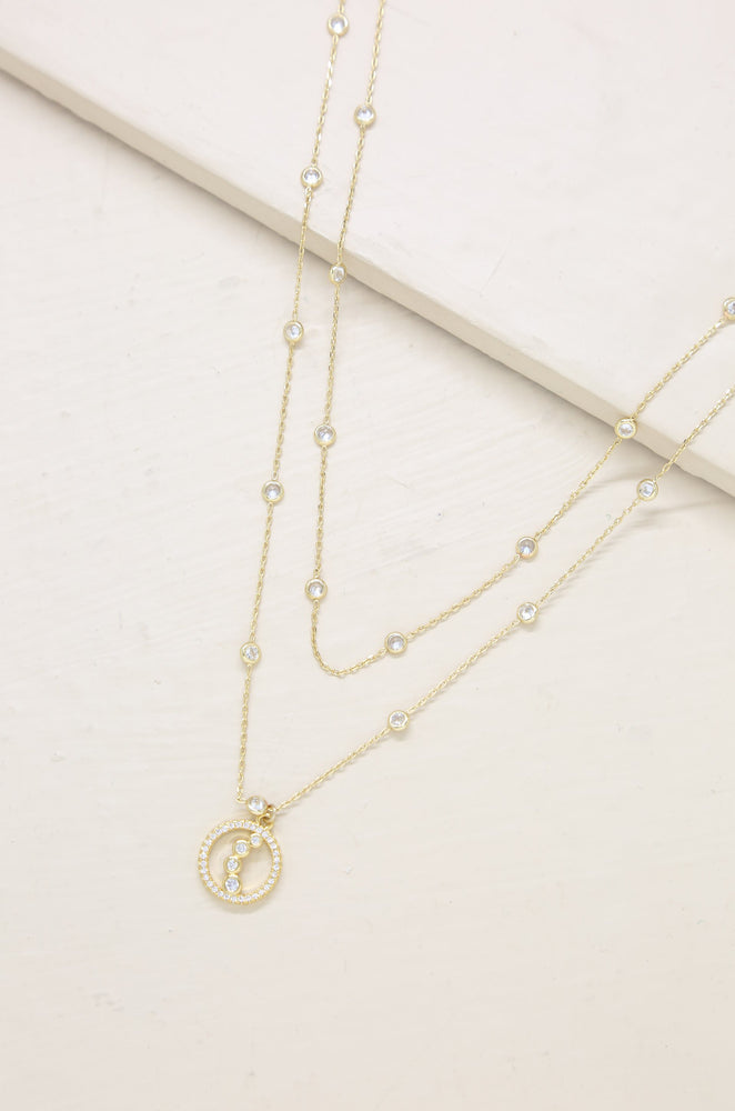 Orbital Crystal Multi-Chain 18k Gold Plated Pendant Necklace