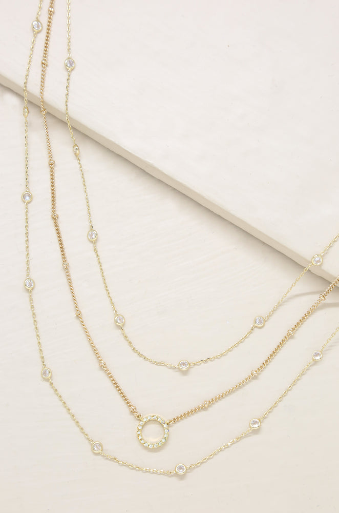 Monroe Crystal Strand Layered Necklace
