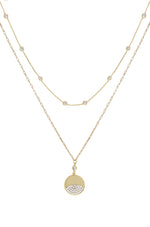 Crystal Dipped 18k Gold Plated Layered Pendant Necklace Set