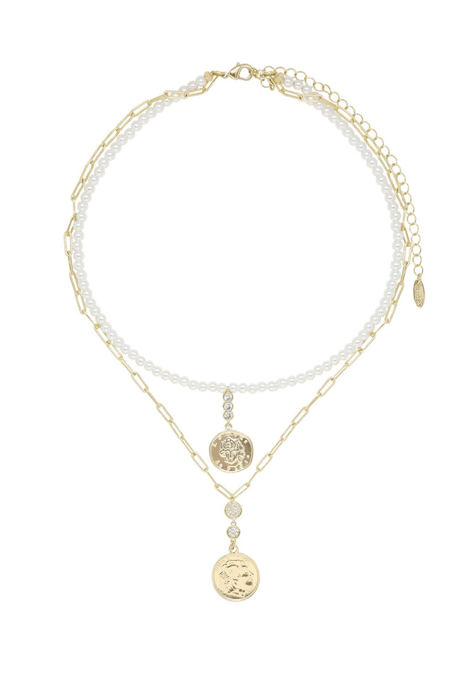 Layla Pearl 18k Gold Plated Layered Necklace