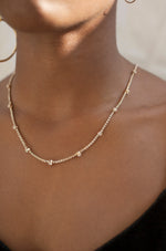 Line Up Crystal Chain and 18k Gold Plated Adjustable Necklace
