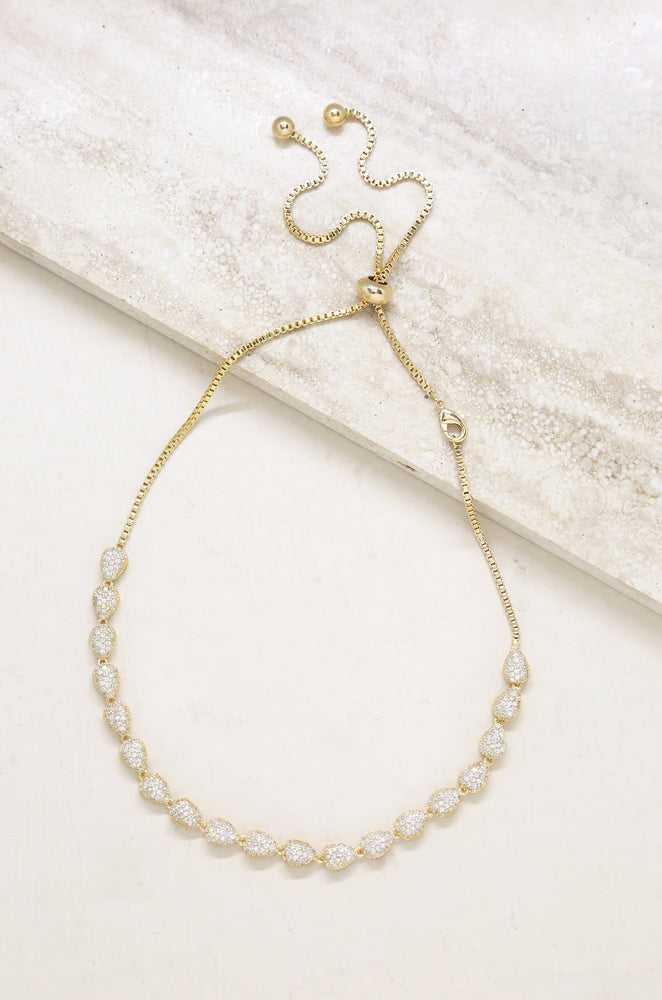 Raised Crystal Teardrop & Gold Adjustable Necklace