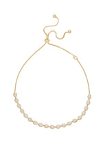 Raised Crystal Teardrop and 18k Gold Plated Adjustable Necklace