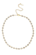 Crystal Disc and 18k Gold Plated Link Necklace