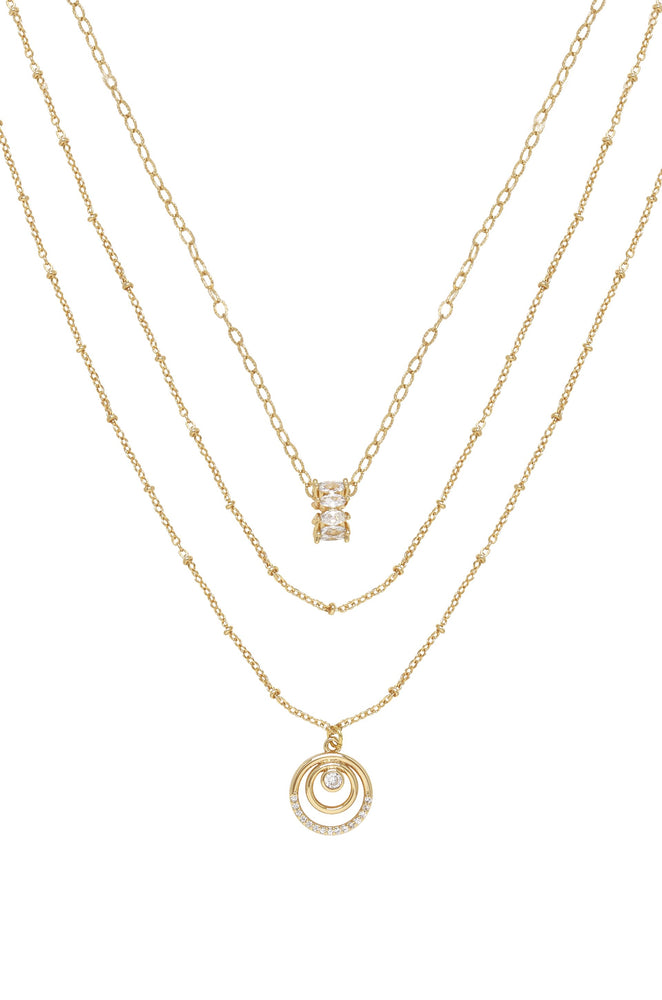 Circles of Crystal Dainty Layered 18k Gold Plated Necklace Set on white background