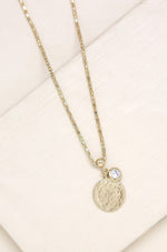 Coin Keepsake 18k Gold Plated Necklace on slate background
