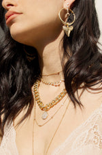 Crystal Disc Charm and 18k Gold Plated Chain Necklace
