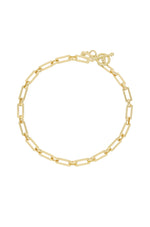 Golden Flat Rectangle 18k Gold Plated Chain Necklace