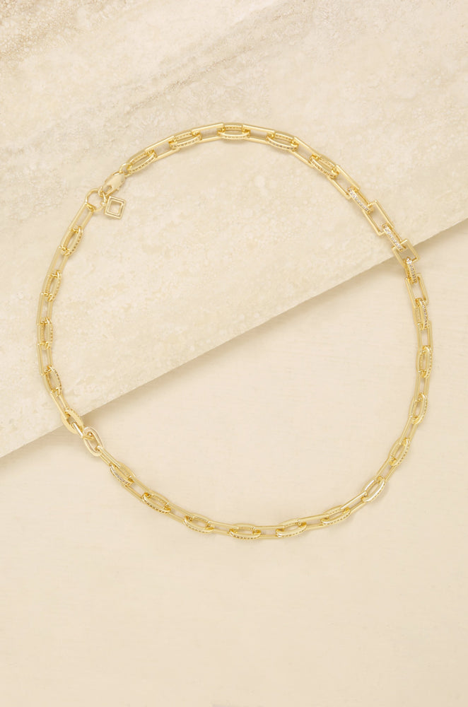 Fancy Pave 18k Gold Plated Chain Necklace