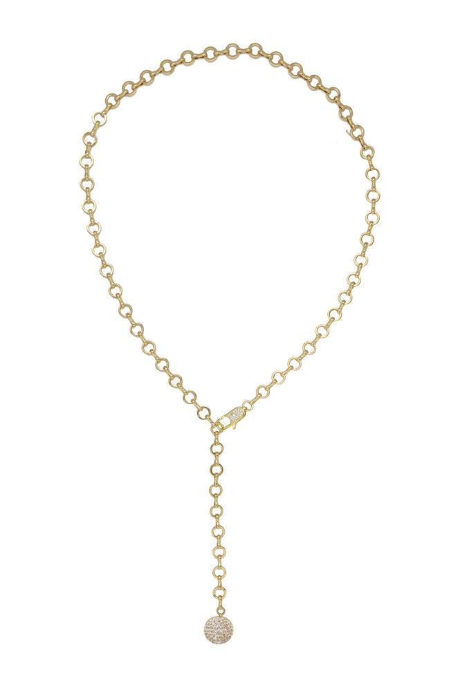 Circle Chain Adjustable 18k Gold Plated Lariat Necklace