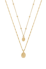 Simple Statement 18k Gold Plated Coin Layered Necklace