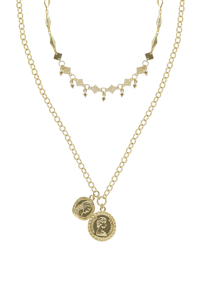 Stella Coin 18k Gold Plated Layered Necklace