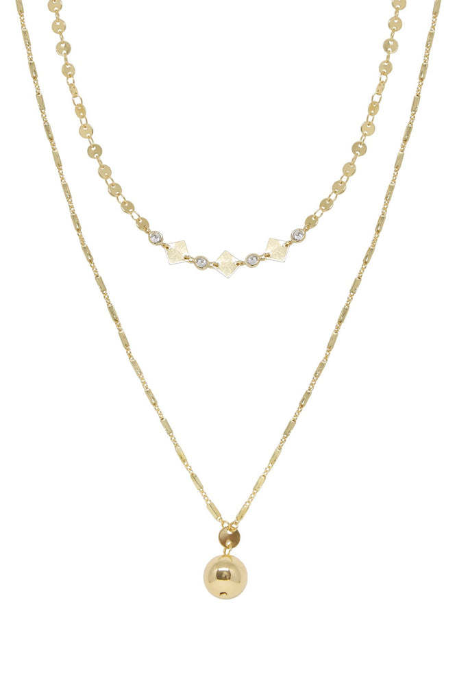 Issa 18k Gold Plated Ball Layered Necklace