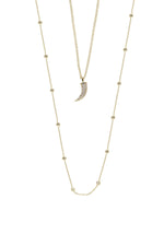 Easy Essential Horn and Delicate Chain 18k Gold Plated Layered Necklace