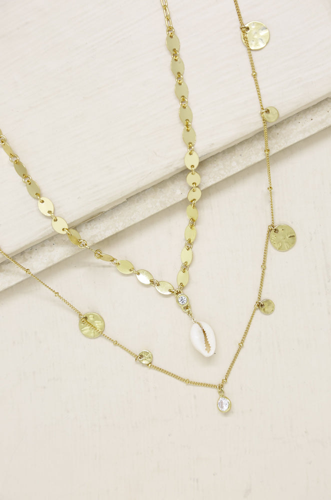The Pier Layered Shell 18k Gold Plated Necklace