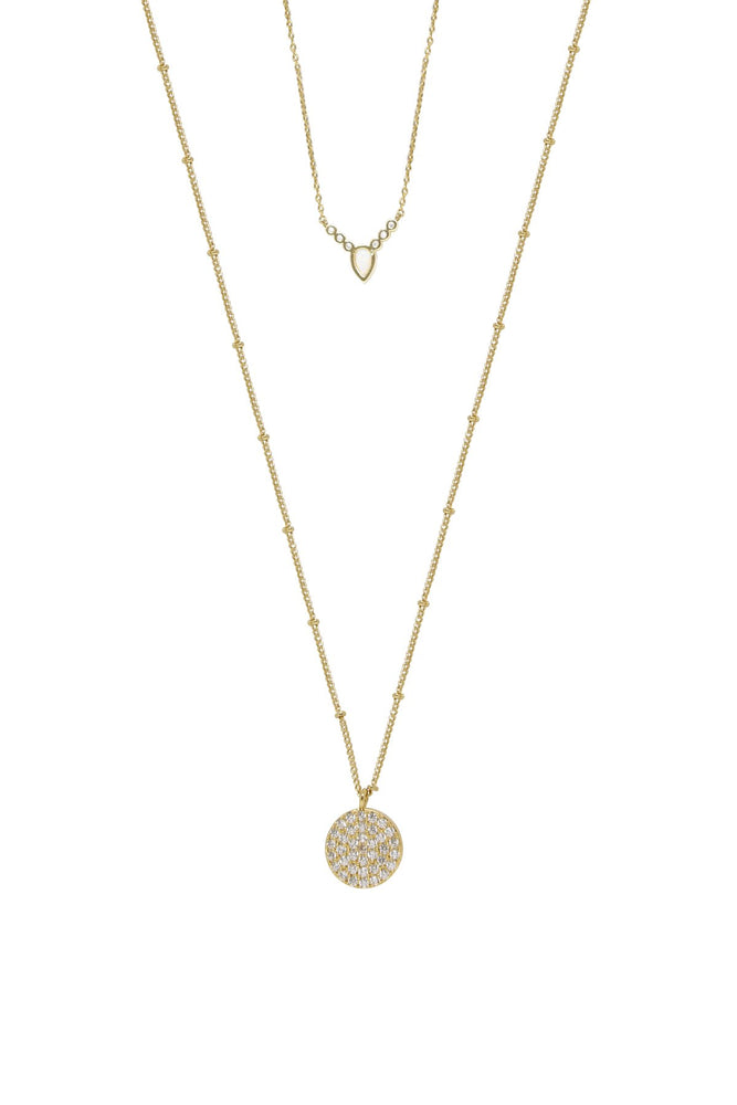 Zoe Delicate Opal and Crystal Coin 18k Gold Plated Layered Necklace