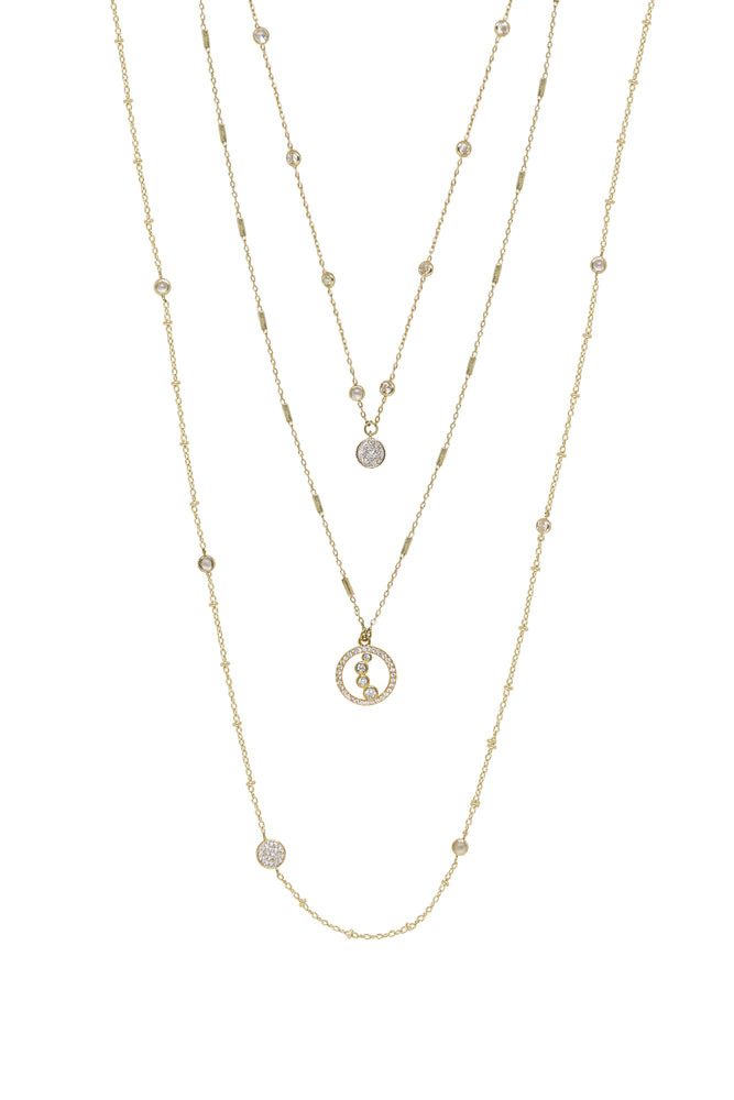 Triple Layered Crystal Detailed 18k Gold Plated Necklace