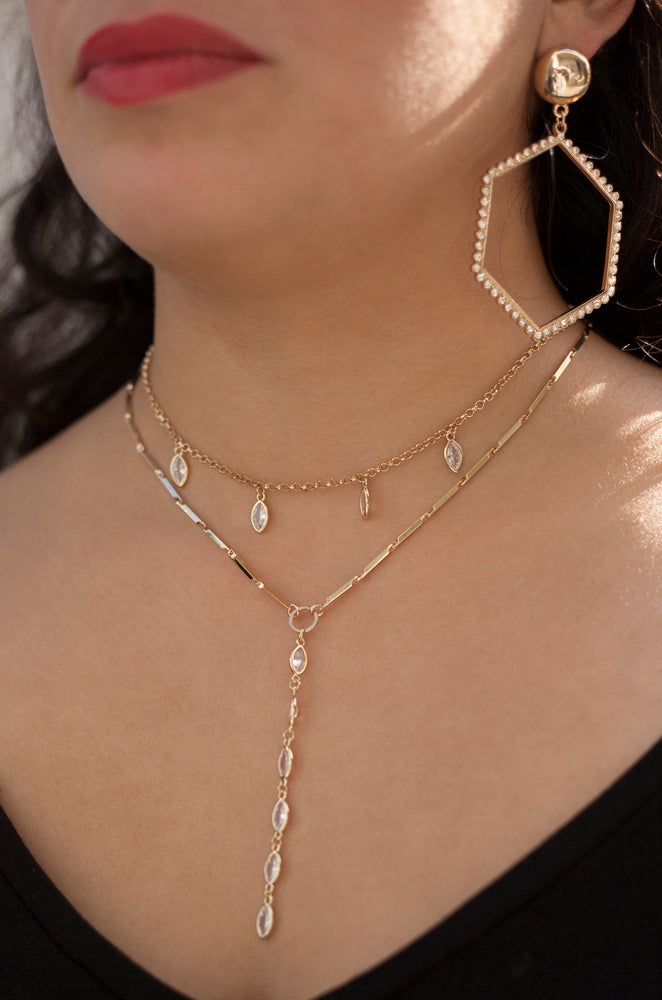 Ariella Glass Crystal 18k Gold Plated Layered Lariat Necklace