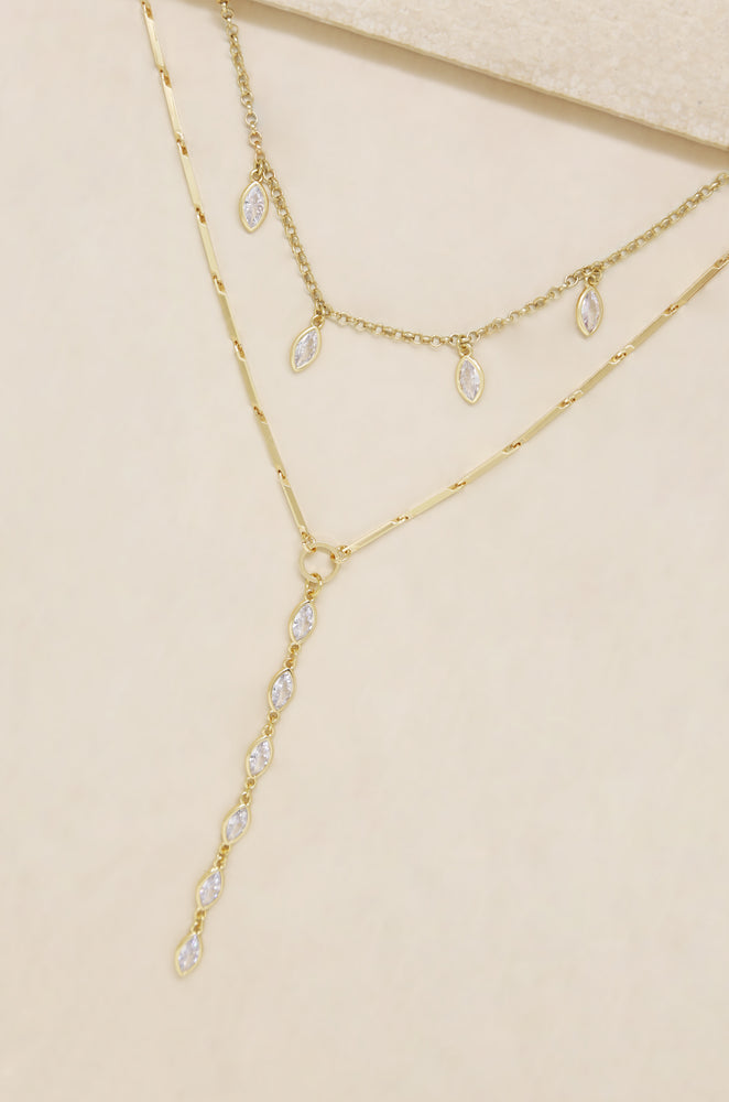 Ariella Glass Crystal Layered Lariat Necklace