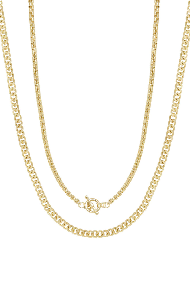 Double 18k Gold Plated Chain Necklace Set