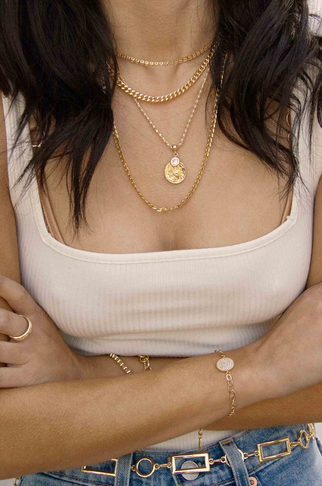 Double 18k Gold Plated Mixed Chain Necklace Set