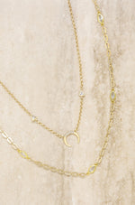 Mesmerize Me Crescent Horn 18k Gold Plated Layered Necklace Set