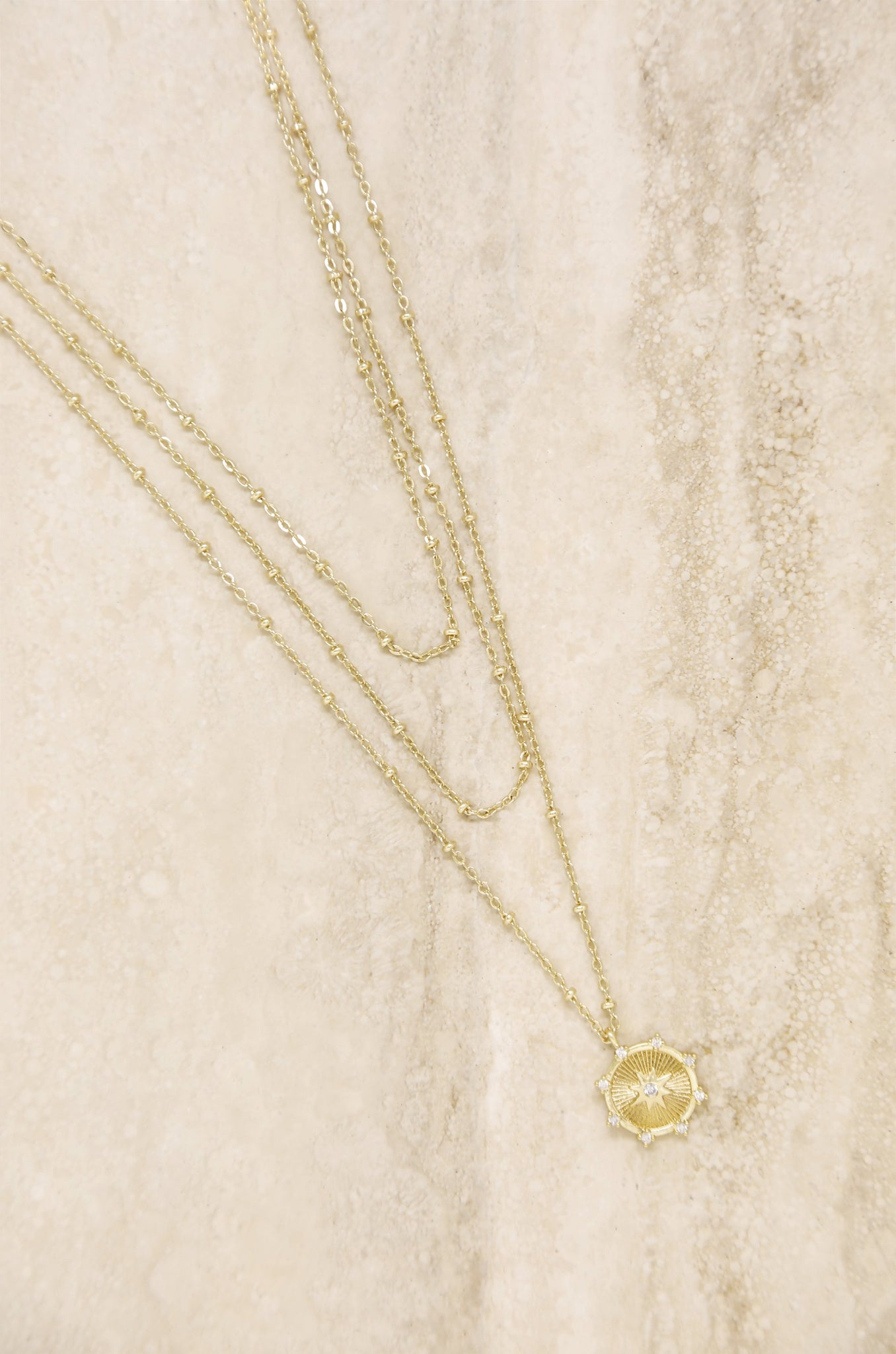 Compass Keepsake Layered 18k Gold Plated Necklace