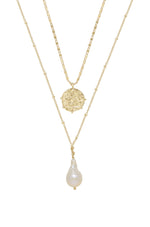 Deep Connections Pearl and Coin 18k Gold Plated Charm Necklace Set