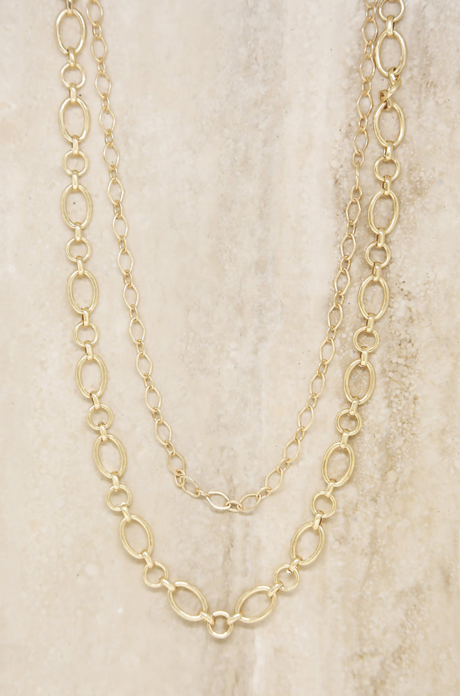 Large Links Double 18k Gold Plated Chain Necklace