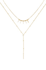Crystal Landslide Lariat 18k Gold Plated Layered Necklace Set