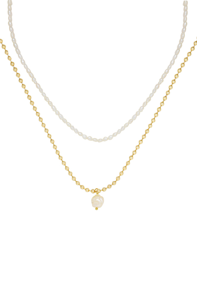 Dainty Pearl Strand and 18k Gold Plated Chain Necklace Set on white background