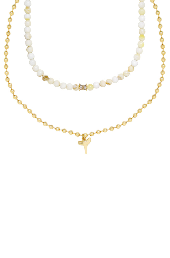 Island Shark Tooth Charm 18k Gold Plated Necklace Set