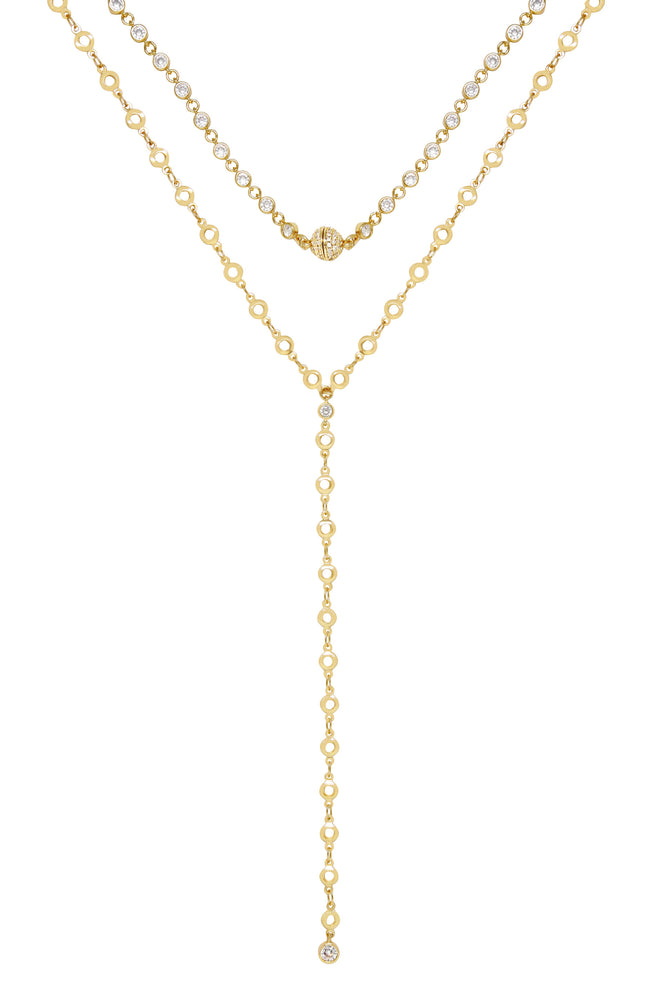 Crystal and 18k Gold Plated Chain Lariat Necklace Set