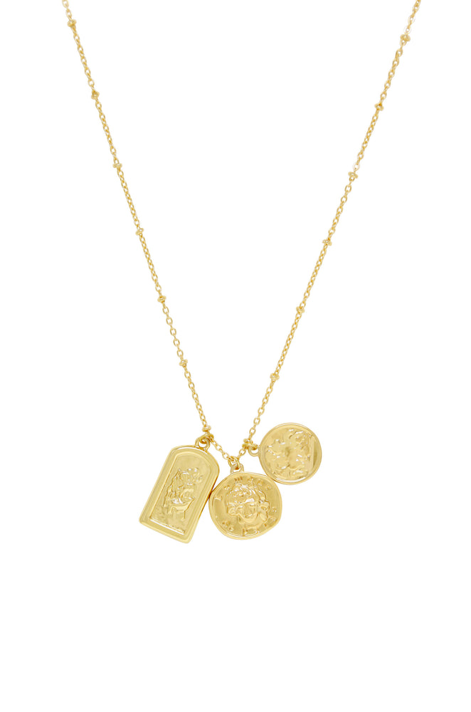 Coin Charms Talisman 18k Gold Plated Necklace